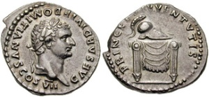 DOMITIAN, as Caesar. 80 AD. Silver Denarius (3.48 gm). CAESAR DIVI F DOMITIANVS COS VII, laureate head right / PRINCEPS IVVENTVTIS, helmet on throne