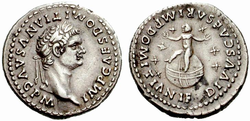 Upon his accession, Domitian revalued the Roman currency by increasing the silver content of the denarius by 12%. This coin commemorates the deification of Domitian's son.