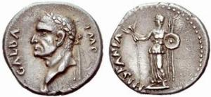 GALBA. 68-69 AD. AR denarius. GALBA-IMP (starting at 7 o'clock, reading clockwise) Laureate head r., with globe at point of bust. / HISPANIA Hispania, draped, standing l., holding corn ears and poppy in r. hand and round shield and two vertical spears in l.