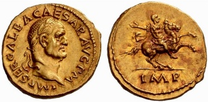 Gold Aureus of Galba (68-69 AD), the Emperor Astride a Rearing Horse on the Reverse