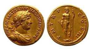 Hadrian gold Aureus. IMP CAESAR TRAIAN HADRIANVS AVG, laureate draped bust right / P M TR P COS III, Jupiter standing facing with thunderbolt & sceptre