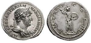 Hadrian silver Denarius. ca 120-124 AD. IMP CAESAR TRAIAN HADRIANVS AVG, laureate draped bust right / P M TR P COS III, Minerva, helmeted, aegis falling over back, advancing right, brandishing spear and holding round shield