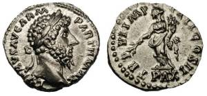 Lucius Verus silver Denarius. L VERVS AVG PARTH MAX, laureate head right / TR P VI IMP IIII COS II, PAX in ex, Pax standing left holding olive-branch and cornucopiae
