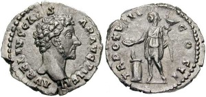 Marcus Aurelius, as Caesar. Silver Denarius. AVRELIVS CAES-AR AVG PII FIL, bare head right / TR POT VIII COS II, Genius or Virtus standing left with legionary eagle & sacrificing out of patera over lighted altar