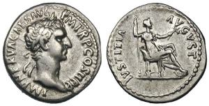 Nerva silver Denarius. Rome, AD 96. IMP NERVA CAES AVG — P M TR P COS II P P, laureate head right / IVSTITIA AVGVST, Justitia seated right, holding scepter & branch.