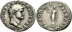 Otho. AD 69. AR Denarius (19mm, 3.48 g, 6h). Rome mint. IMP M OTHO CAESAR AVG TR P, Bare head right / PAX ORBIS TERRARVM, Pax standing left, holding olive branch and caduceus.