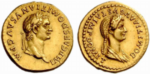 Roman aureus minted in 83 during the reign of Domitian. Domitia appears on the reverse with the honorific title Augusta.
