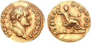 Titus, as Caesar, gold Aureus. 73 AD. T CAESAR IMP VESP CENS, laureate head right / TRI POT PONTIF, Titus seated right, holding sceptre & branch