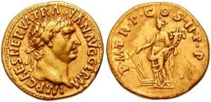 roman coin Trajan gold Aureus 98-99 AD