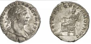 roman coin Trajan silver Denarius. IMP TRAIANO AVG GER DAC P M TR P, laureate bust right, draped far shoulder / COS V P P SPQR OPTIMO PRINC, Aequitas seated left holding cornucopiae & scales