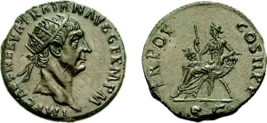 roman coin Trajan silver Dupondius. 98-99 AD. IMP CAES NERVA TRAIAN AVG GERM P M, radiate head right / TR POT COS II, SC in ex, Abundancia seated left on chair of two crossed cornucopiae, holding sceptre