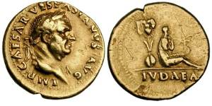 Vespasian gold Aureus. Rome mint, 21 Dec 69 through early 70 AD. IMP CAESAR VESPASIANVS AVG, laureate head right / IVDAEA in ex, captive Jewess seated right, hands tied before, trophy of captured arms behind.