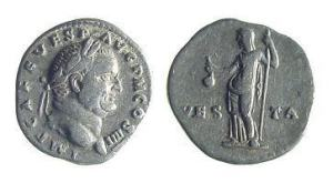 Vespasian silver Denarius. IMP CAES VESP AVG P M COS IIII, laureate head right / VES-TA to either side of Vesta standing left, holding simpulum & scepter