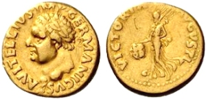 VITELLIUS. 69 AD. Gold Aureus, Tarraco January-April 69, 7.16 g. A VITELLIVS IMP GERMANICVS Laureate bust l., with globe at point of the bust. / VICTORIA – AVGVSTI Victory, draped, advancing l., holding shield inscribed S P / Q R