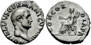 VITELLIUS. 69 AD. AR Denarius (3.26 gm). Rome mint. A VITELLIVS GERMANICVS IMP, Bare head right; early transitional type with features of Otho / CONCORDIA P R, Concordia seated left, holding cornucopiae and patera.