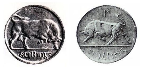 Plaster Models - Morbiducci v Metcalfe (shilling). Irish Coin Design Competition 1927.