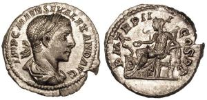 Severus Alexander. Silver Denarius. Rome, 224 AD. IMP C M AVR SEV ALEXAND AVG, laureate, draped bust right / P M TR P III COS P P, Pax standing left, holding olive branch and sceptre