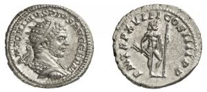 Caracalla AR Antoninianus. 215 AD. ANTONINVS PIVS AVG GERM, radiate cuirassed bust right, seen half from back / P M TR P XVIII COS IIII P P, Jupiter standing right holding thunderbolt & sceptre