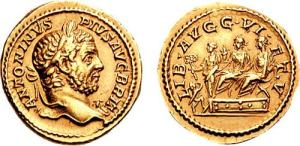 Caracalla AV Aureus. Struck 211 AD. ANTONINVS PIVS AVG BRIT, laureate bust right, aegis at point of bust / LIB AVGG VI ET V, Geta & Caracalla, laureate & togate, seated left on curule chairs set on low daïs, each extending right hand to small figure climbing stairs holding out fold of toga to receive donative from Liberalitas standing left, holding coin counter & cornucopiae