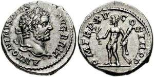 Caracalla Denarius. 212 AD. ANTONINVS PIVS AVG BRIT, laureate head right / PM TR P XV COS III P P, Hercules standing front with branch, club & lion skin