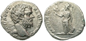 Clodus Albinus. Silver denarius. Silver denarius, RIC IV 7, SRCV II 6144, BMCRE V 98, Cohen 48, gVF, Rome mint, weight 3.277g, maximum diameter 18.1mm, die axis 0o, 194 A.D.; obverse D CLOD SEPT ALBIN CAES, bare head right; reverse MINER PACIF COS II, Minerva, helmeted, standing left, olive-branch in right hand, resting left on grounded shield, spear leans against arm
