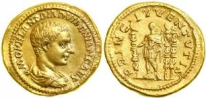 Diadumenian, AD 218. Gold Aureus (7.22 g) minted at Rome as Caesar, AD 217-218, by his father, Macrinus. Bareheaded, cuirassed and draped bust right of Diadumenian. Reverse: Diadumenian standing left, head right, holding standard and scepter; two more standards in right field.