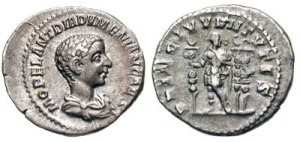Diadumenian Denarius. M OPEL ANT DIADVMENIAN CAES, draped bust right / PRINC IVVENTVTIS, Diadumenian standing front, looking right, holding sceptre & standard, two standards behind