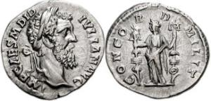 Didius Julianus. AD 193. AR Denarius (17mm, 3.06 g, 6h). Rome mint. 1st emission, 28 March-May AD 193. IMP CAES M DID 0 IVLIAN AVG, Laureate bust right / CONCORD-D-MILITConcordia standing facing, head left, holding vexillum and aquila.