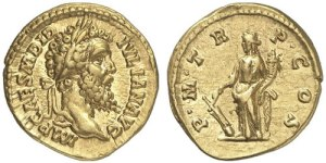 Didius Julianus gold aureus. Obverse: IMP CAES M DID IVLIAN AVG, Laureate head right. Reverse: P M TR P COS, Fortuna standing left, holding rudder on globe and cornucopiae.