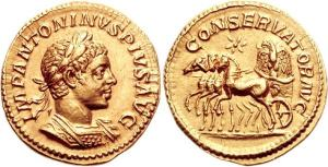 Elagabalus Aureus. 222 AD. IMP ANTONINVS PIVS AVG, laureate, draped & cuirassed bust right / CONSERVATOR AVG, Stone of Emesa in quadriga left, eagle carrying wreath in beak upon the stone, star above