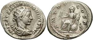 Elagabalus, AR Antoninianus, 218, Rome IMP CAES M AVR ANTONINVS AVG Radiate, draped, cuirassed bust right, seen from behind P M TR P-COS P P Roma seated left, Victory in right hand, scepter in left, shield at side