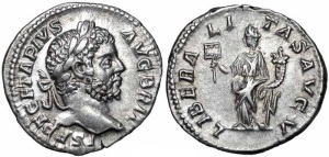 Geta Denarius Obv: PSEPTGETAPIVSAVGBRIT - Laureate head right. Rev: LIBERALITASAVGV - Liberalitas standing left, holding coin counter and cornucopia. 211 (Rome)