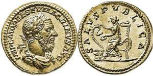 Macrinus, gold Aureus, 6.98 gr. Rome, 217-218 AD. IMP C M OPEL SEV MACRINVS AVG Laureate, draped and cuirassed bust right (older bust with long beard) / SALVS PVBLICA, Salus seated left on high-backed throne, holding patera in her left hand from which she feeds a serpent coiling up from an altar to left, her right hand on the serpent's head