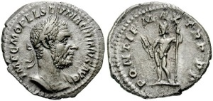 Macrinus Denarius. Struck 217 AD. IMP C M OPEL SEV MACRINVS AVG, laureate and cuirassed bust right / PONTIF MAX TR P COS P P, nude Jupiter standing left, holding thunderbolt and sceptre