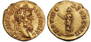 Pertinax AV Aureus. 1 Jan - 28 Marchi, 193 AD. IMP CAES P HELV PERTIN AVG, laureate head right / PROVID DEOR COS II, Providentia standing left, raising right hand towards star.