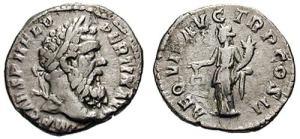 Pertinax 193 AD. Silver Denarius. IMP CAES P HELV PERTIN AVG, laureate head right/ AEQVIT AVG TR P COS II, Aequitas standing left, holding scales and cornucopiae.