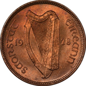 1928-37 Irish Farthing (obverse design)
