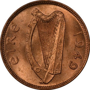 1939-66 Irish Farthing (obverse design)