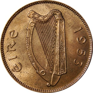 1939-67 Irish Halfpenny (obverse design)