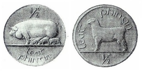 Ireland halfpenny Metcalfe produced patterns for both sow and ram – the sow was chosen by the committee.