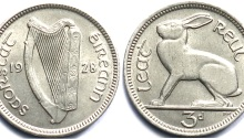 Ireland 1928 threepence coin ireland saorstat eireann eire percy metcalfe