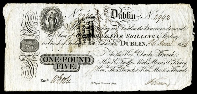 ffrench;s Bank, Dublin - 25 shillings, ireland, irish, banknote