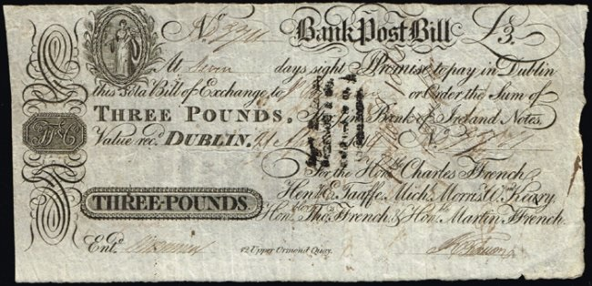 ffrench's Bank, Tuam - three pounds ireland irish sterling
