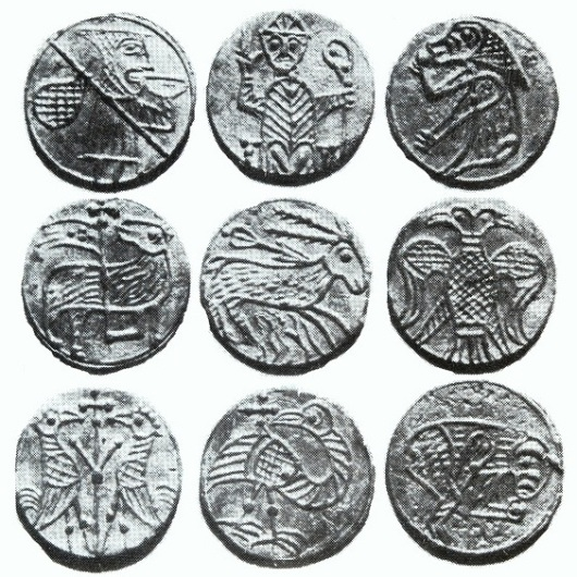 These distinctive pewter tokens were found by Brendán O'Riordáin during his archaeological excavations at Winetavern Street in Dublin. As its name suggests, this street was once famous for its taverns and it is likely that the tokens were originally used by local inn-keepers when normal coinage was scarce.