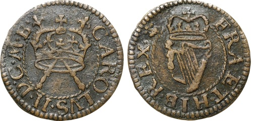 The Irish Armstrong farthing legend reads as follows :- CAROLVS II D G M B                             FRA ET HIB REX which translates and expands to :- Charles II by the grace of God, King of Great Britain, France and Ireland