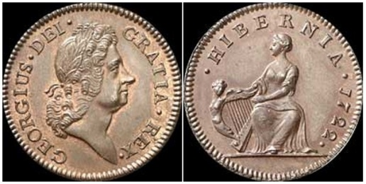1722 Wood's Hibernia Halfpenny, Type I (regular issue)