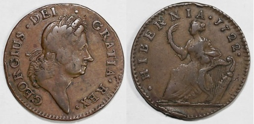 1722 Wood's Hibernia Halfpenny, Type II (regular issue)