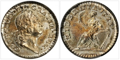 1723 Wood's Hibernia Farthing. Martin 3.2-Bc.10, W-12500. Rarity-5. Silver Pattern. Specimen-64+
