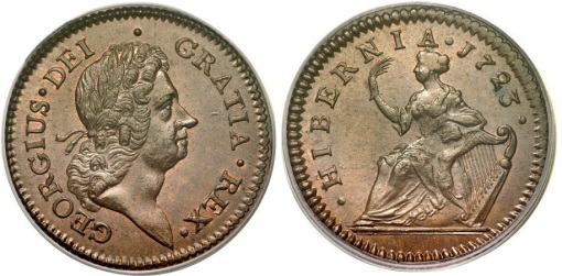 1723 Wood's Hibernia Halfpenny, Type II (regular issue)