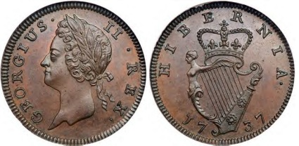 1737 George II, Type I farthing S-6608 D&F-558 George II, the superb left-facing Irish portrait, bare head with ribbon-ties behind. Plain edge.